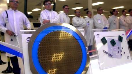 A wafer containing Pentium IV chips is seen