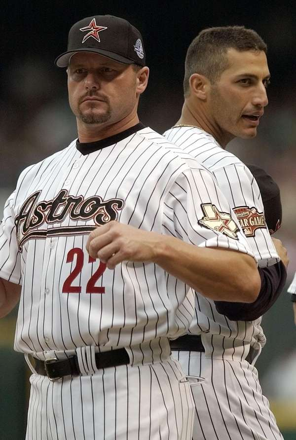 Houston Astros pitchers Roger Clemens, left, and Andy