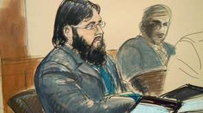 Adis Medunjanin in a courtroom sketch. (April 18,