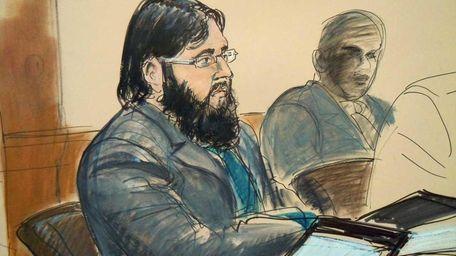 Adis Medunjanin in a courtroom sketch. (April 18,