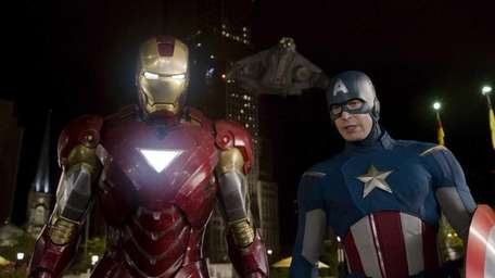 Iron Man, portrayed by Robert Downey Jr., left,