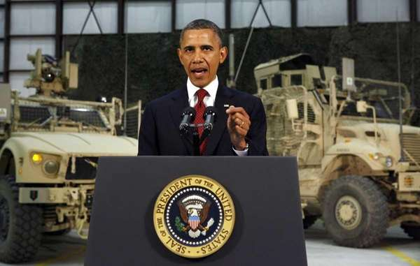President Barack Obama delivers a speech from Bagram