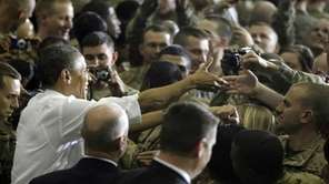 President Barack Obama greets troops at Bagram Air