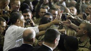 President Barack Obama greets troops at Bagram Air