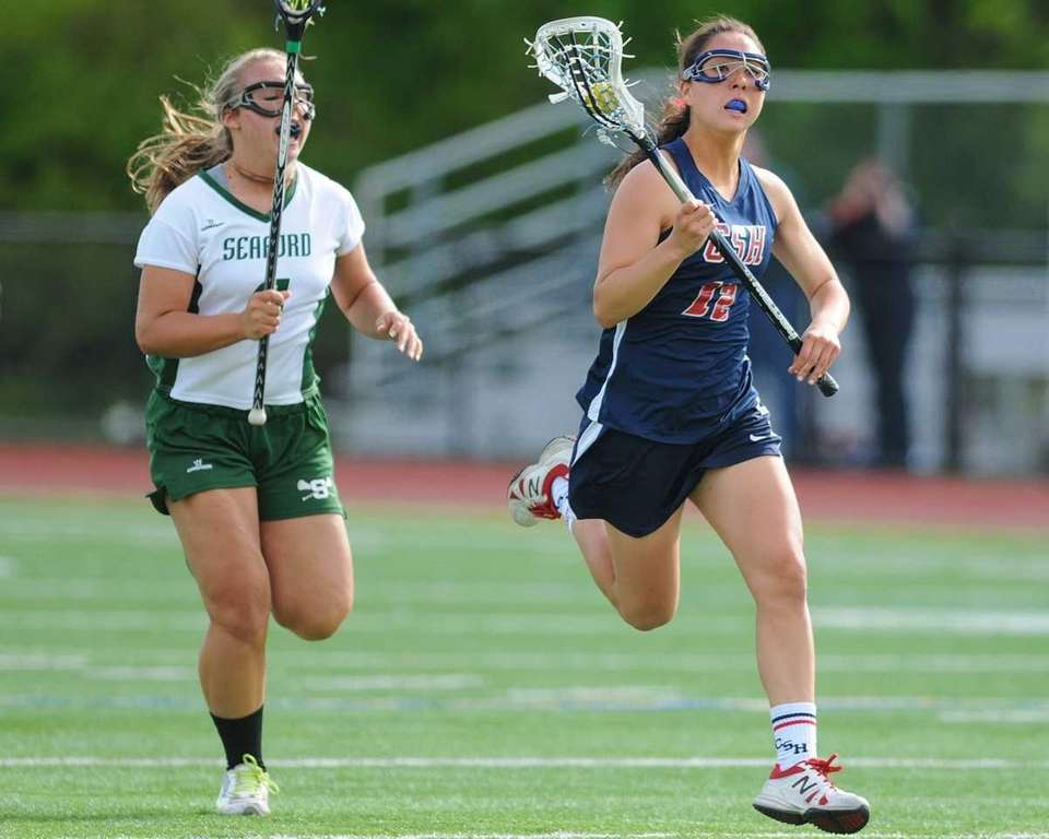 Cold Spring Harbor #12 Holly Logan, right, looks