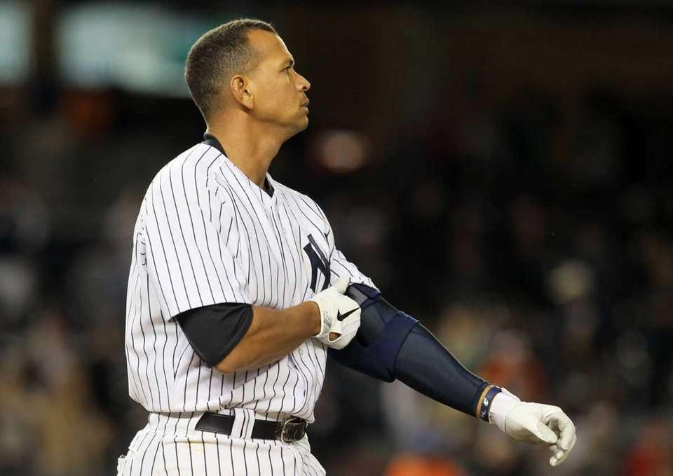 Alex Rodriguez of the New York Yankees reacts