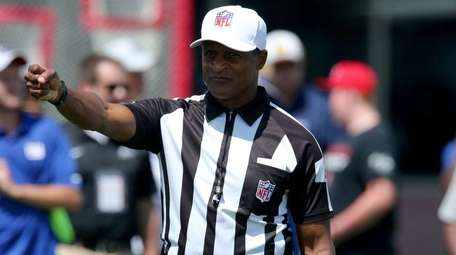 NFL referee Jerome Boger officiates during Giants training