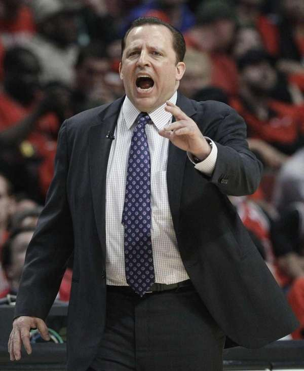 Chicago Bulls coach Tom Thibodeau yells to his