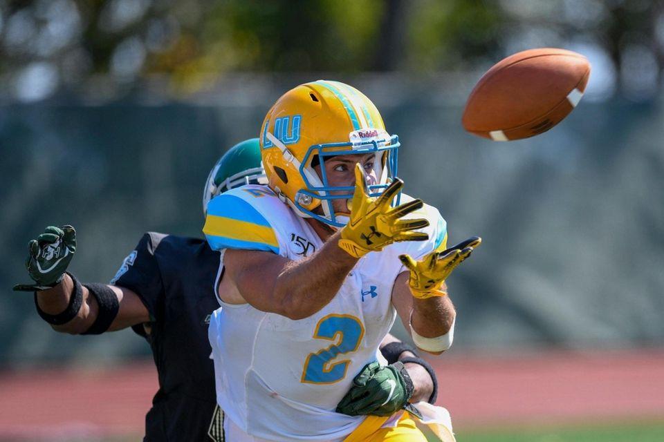 LIU's Jake Bofshever catches a 38-yard touchdown pass