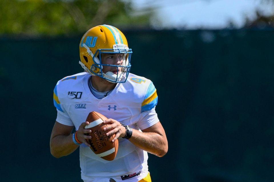 Long Island Sharks quarterback Clay Beathard looks to