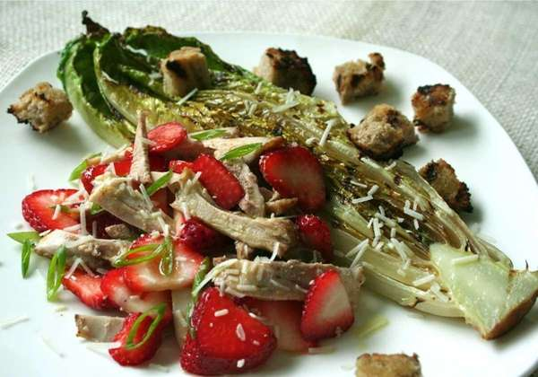 Grilled Romaine with chicken and strawberries. (April 30,