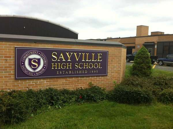 Sayville High School, located on Brook Street in