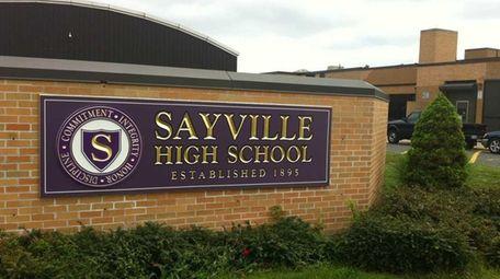 Sayville High School, located on Brook Street in