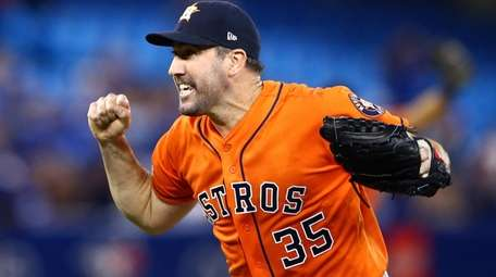 Justin Verlander #35 of the Houston Astros reacts