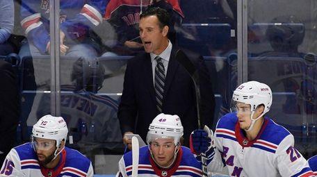 Rangers head coach David Quinn calls out to