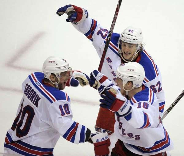 Rangers right wing Marian Gaborik (10) celebrates his