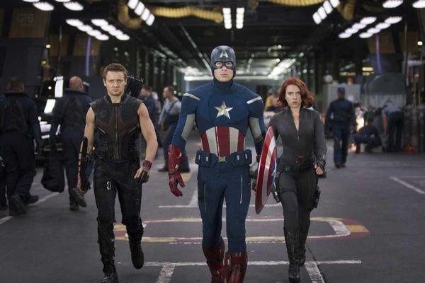 Jeremy Renner, Chris Evans and Scarlett Johansson in