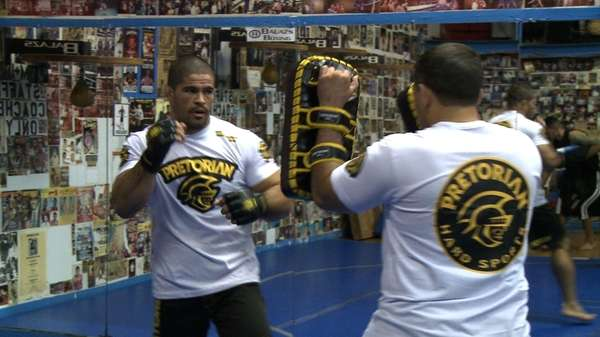 Rousimar Palhares at open workouts Wednesday at Church