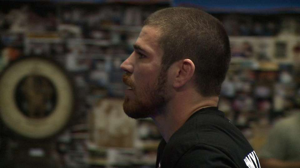 Jim Miller at open workouts Wednesday at Church