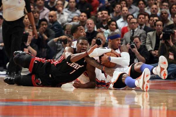 Carmelo Anthony #7 and J.R. Smith #8 of