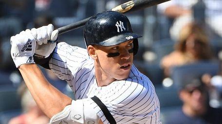 Yankees designated hitter Aaron Judge looks for his