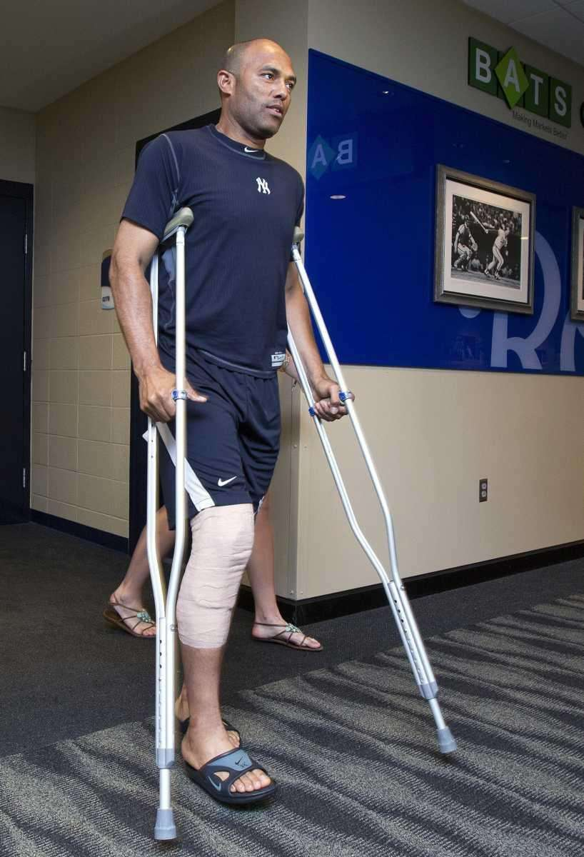 Yankees relief pitcher Mariano Rivera emerges from the