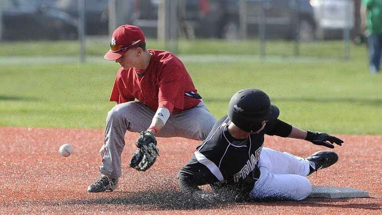 St. Anthony's Rich Patrizio steals second base as