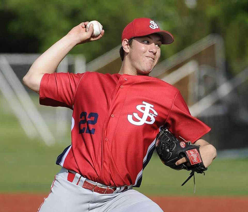 St. John the Baptist pitcher Gregory Egan throws