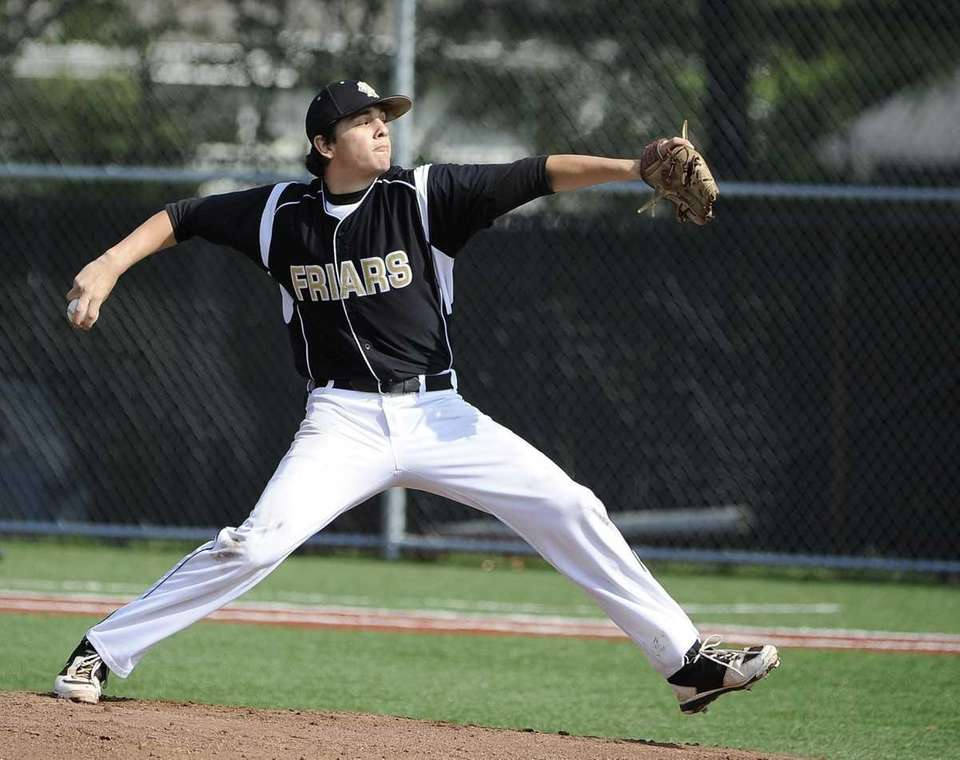 St. Anthony's starting pitcher Brian Tinney delivers against