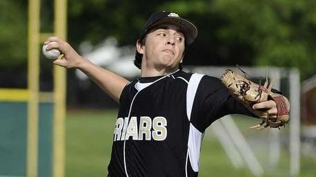 St. Anthony's starting pitcher Brian Tinney delivers to