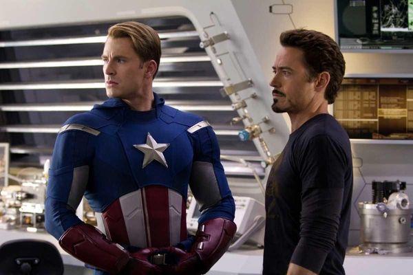 Chris Evans, portraying Captain America, left, and Robert