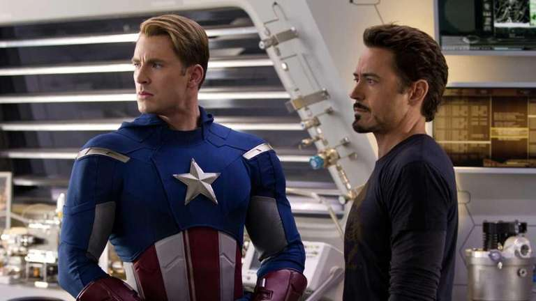 Chris Evans, portraying Captain America, left, and Robert