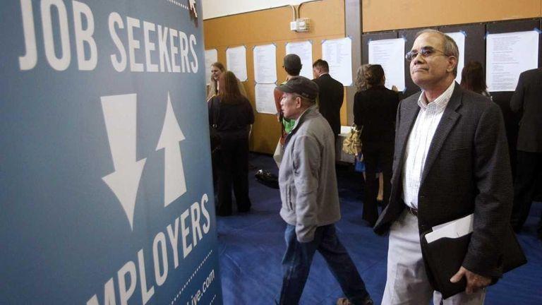 Job seeker Alan Shull attends a job fair