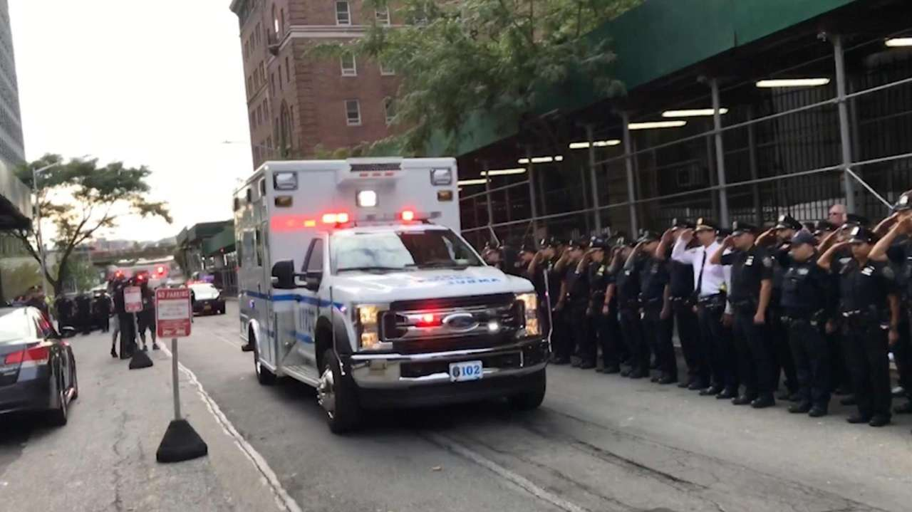 On Monday, NYPD officers stood at attention as