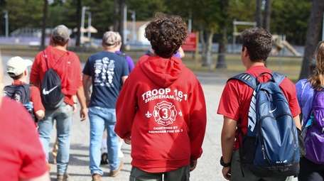 Family members, friends and Scouts hike to celebrate