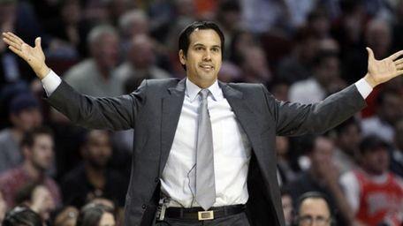 Miami Heat head coach Erik Spoelstra reacts as