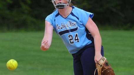 Our Lady of Mercy Academy pitcher #24 Samantha