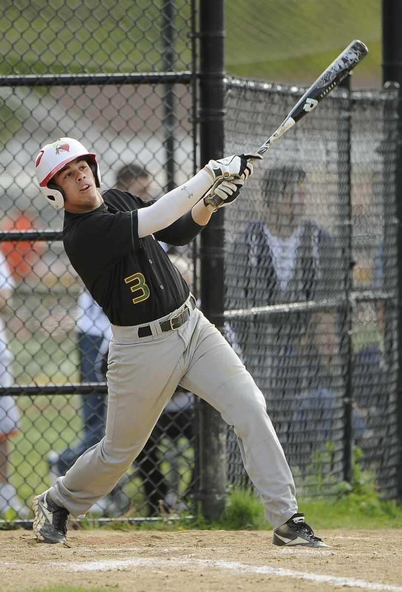 Ward Melville's Anthony Padrazo hits a RBI double