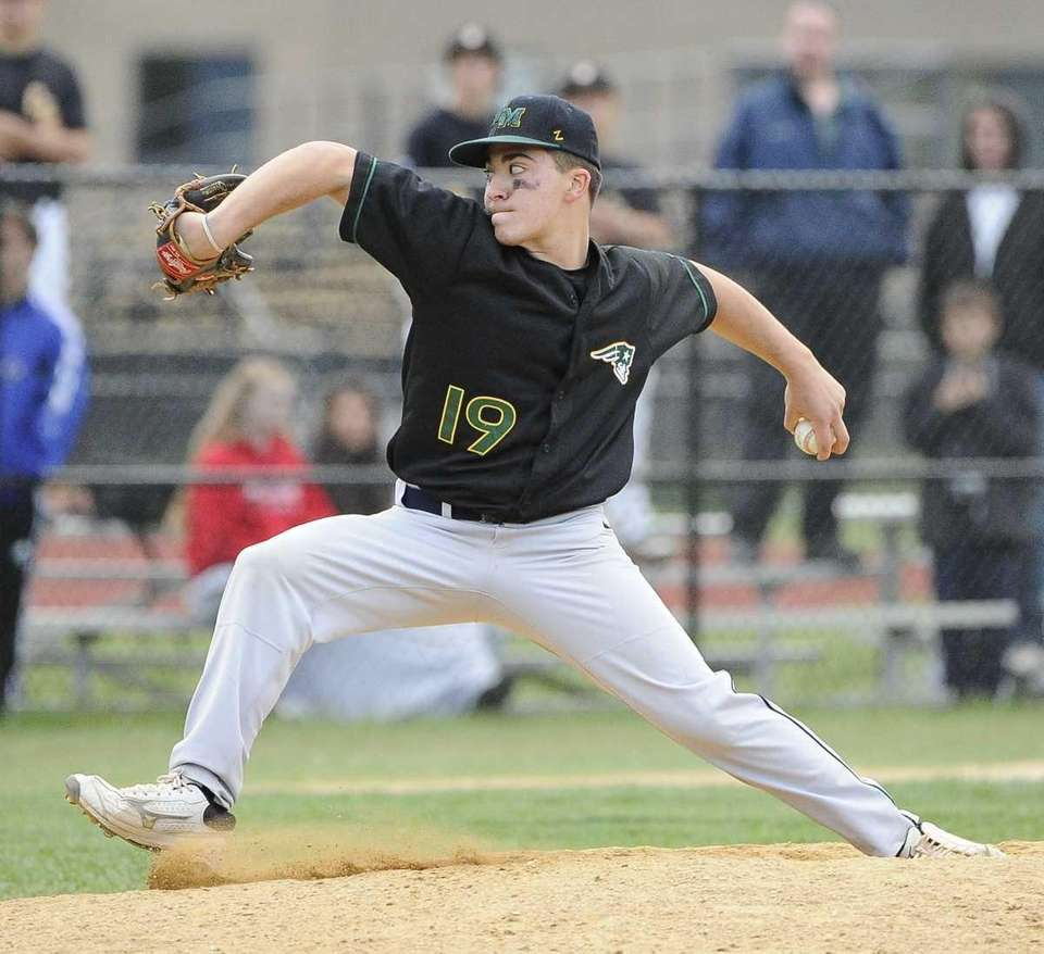 Ward Melville pitcher Gregory Coman pitches in the