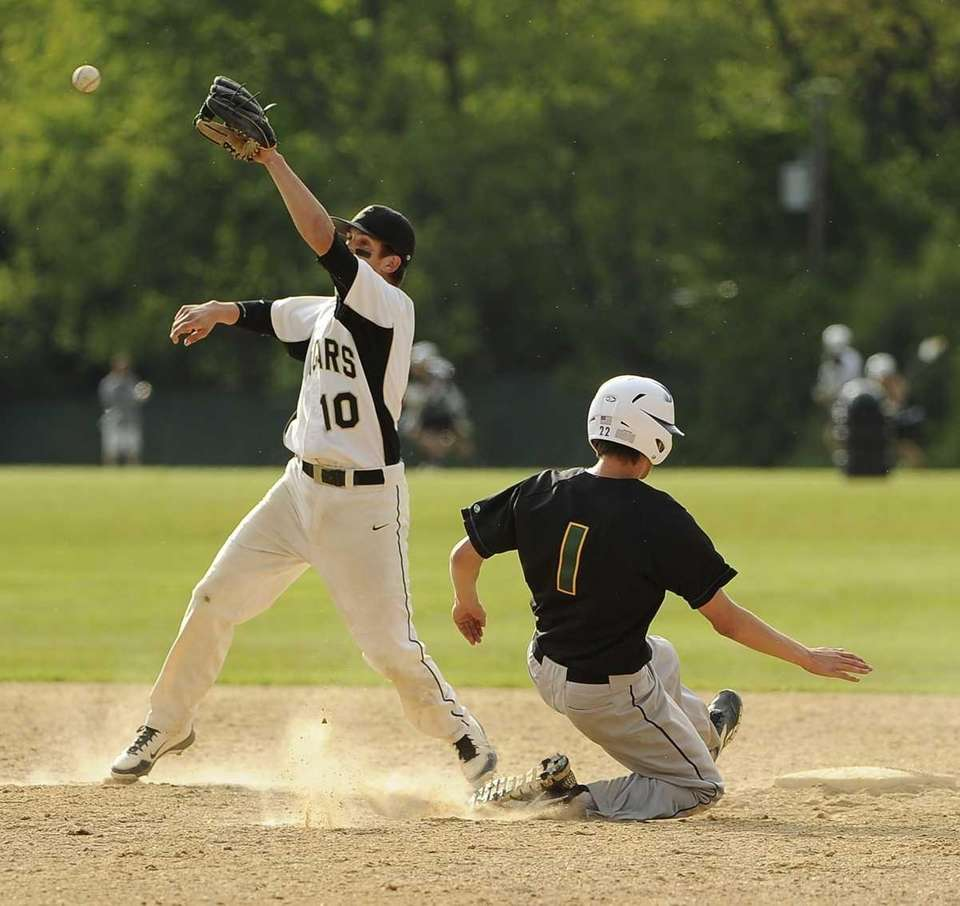 Ward Melville's Anthony Kay steals second base on