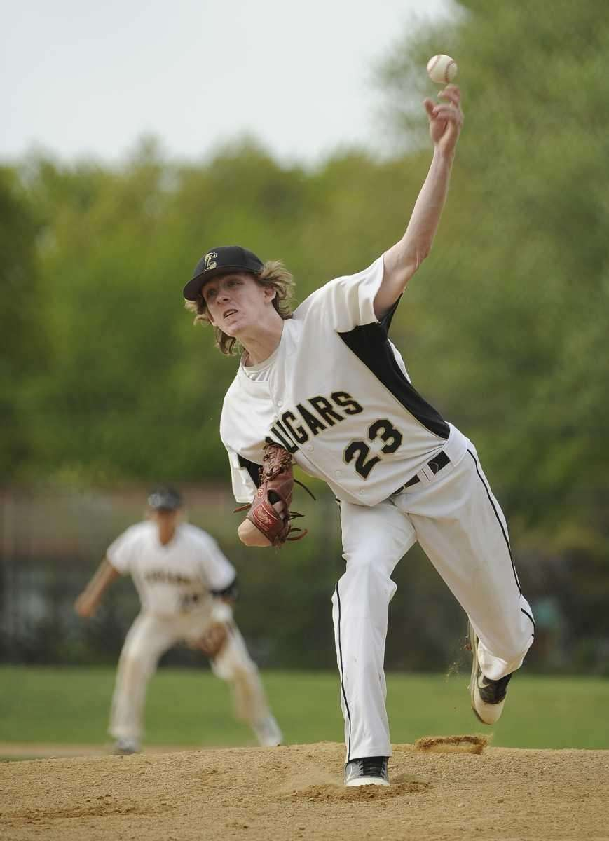 Commack pitcher Cameron Kitt throws against Ward Melville