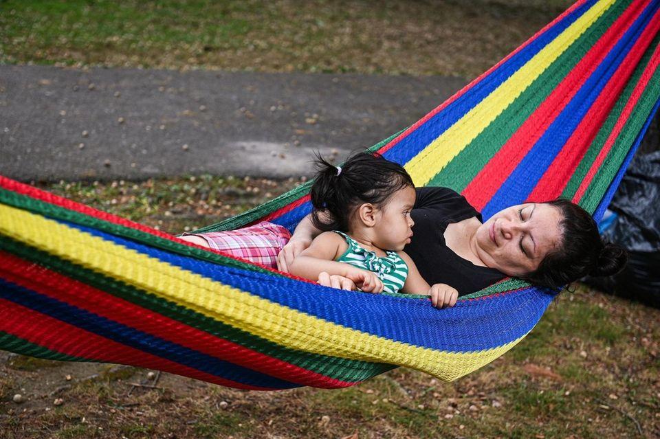 Sehila Molina, of Hempstead, lounges in a hammock