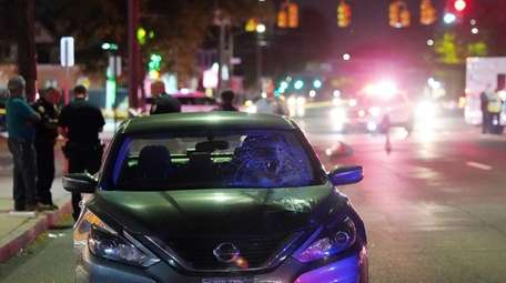 Nassau County police at the scene Monday night