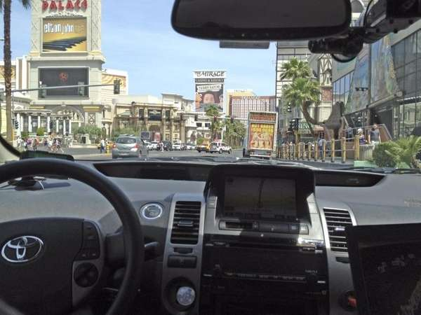 Google's autonomous vehicle cruises the Las Vegas Strip.