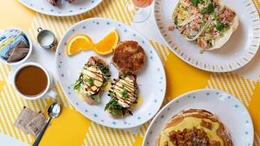 A brunch spread including a twist on eggs