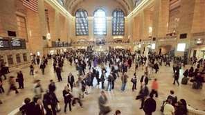 Commuters passing through Grand Central Terminal during the