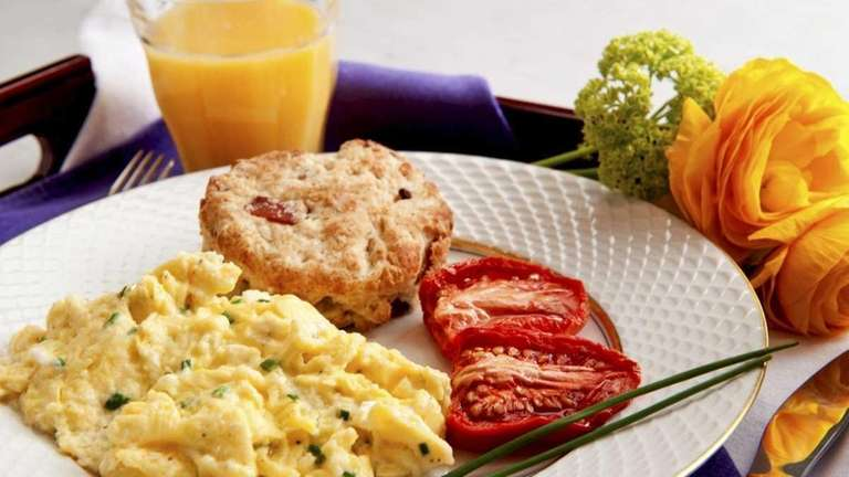 Goat cheese and chive scrambled eggs. (April 23,