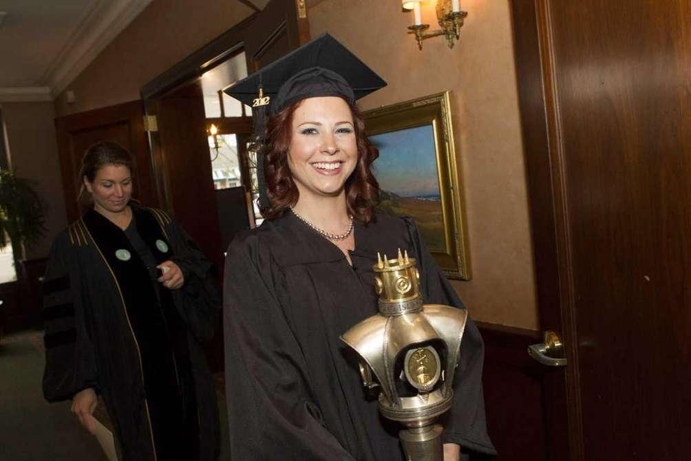 Valedictorian Jennifer Wamsley, 28, from East Northport got