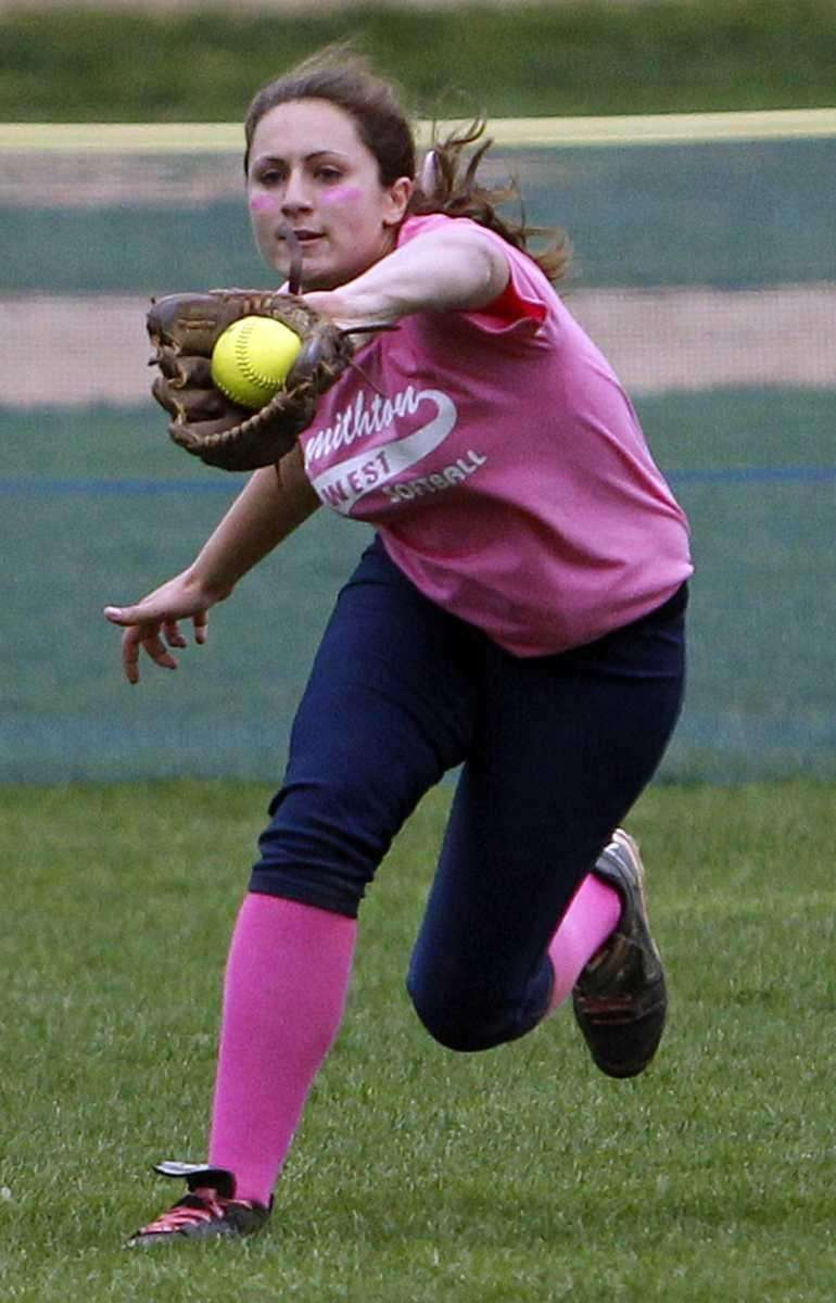 Smithtown West's Teresa Staiano (18) grabs the fly