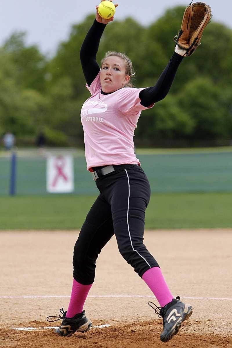 Smithtown East starting pitcher Samantha Moss. Smithtown West